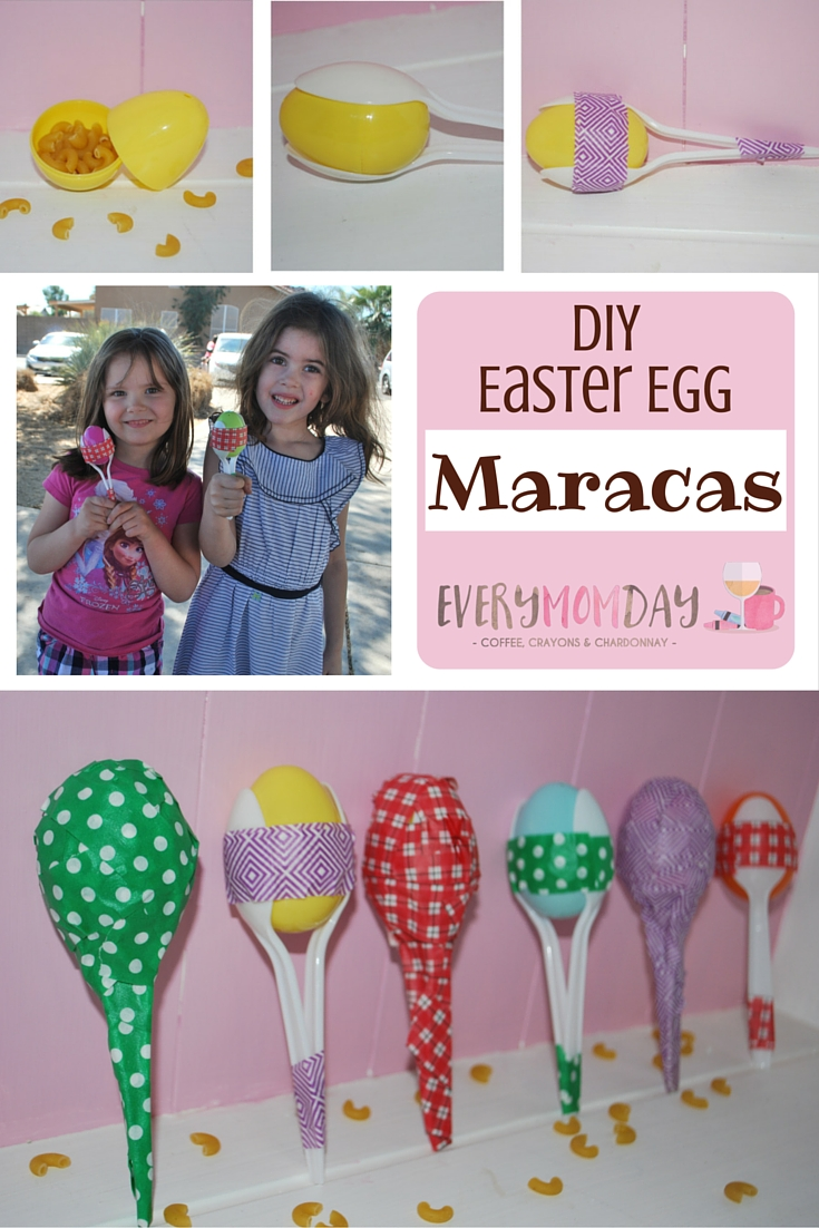 DIY Maracas made with an Easter egg, spoons, tape and dry macaroni - the kids will LOVE them and they're easy to make! EveryMomDay.com