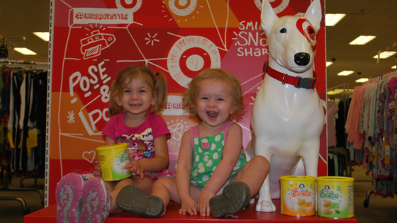 Happy girls posing with the Target pup and thieir Gerber lil'beanies! EveryMomDay.com